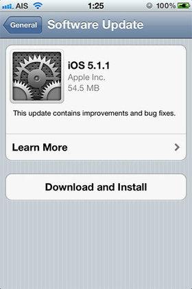 Apple ปล่อยอัพเดท iOS 5.1.1 ออกมาแล้ว