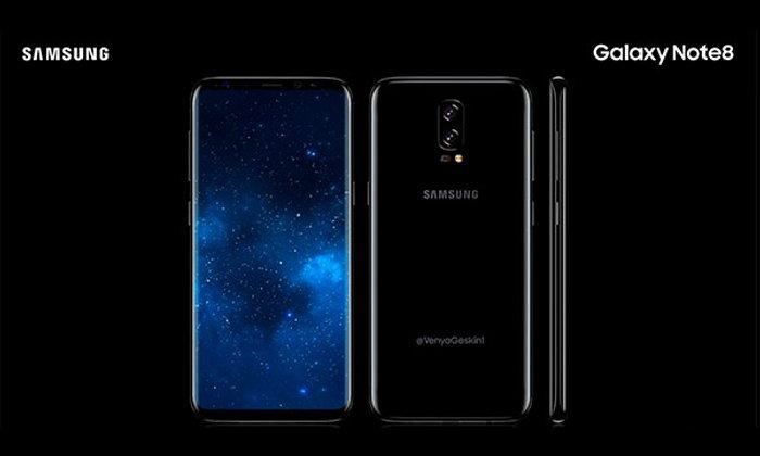 หลุดภาพเรนเดอร์ Galaxy Note8 ว่าที่เรือธงรุ่นใหม่ กับฟีเจอร์จัดเต็มด้วยหน้าจอ Infinity Display