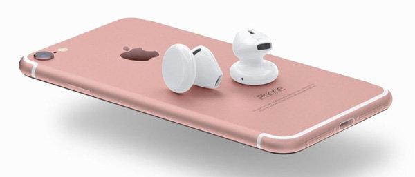 ภาพคอนเซปท์ AirPods หูฟังแบบไร้สายสำหรับ iPhone 7 ด้วยระบบชาร์จเร็วเพียง 30 วิ ใช้งานได้นาน 10 นาที