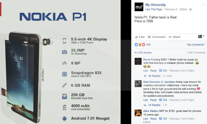 หลุดภาพกราฟิก Nokia P1 พร้อมราคาแล้ว