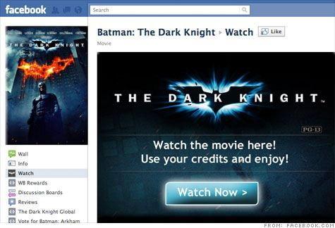 Warner ให้เช่าหนังดูได้บน Facebook