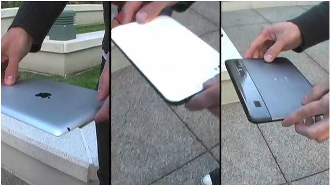 ฝรั่งลองของ! จับ iPad 2, Galaxy Tab 7, Xoom โดดฆ่าตัวตาย, ใครเจ๋งสุดมาดู!!