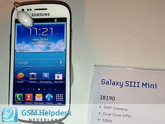 หลุดสเปคและรูปตัวเครื่อง Samsung Galaxy S3 Mini