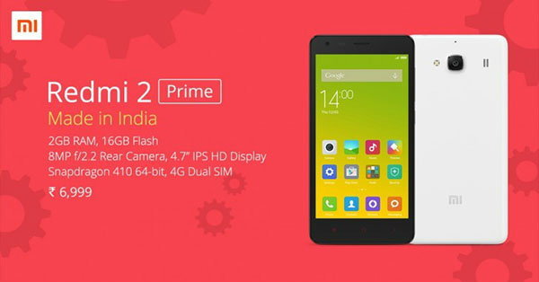 Xiaomi เปิดตัว Redmi 2 Prime ราคาเบา ๆ พร้อมขายในอินเดีย