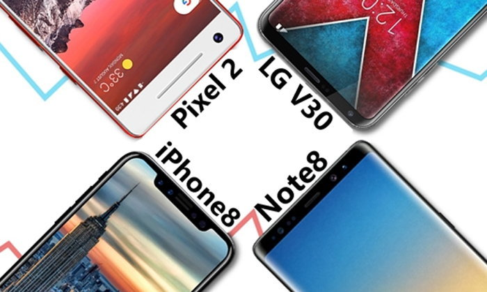 เทียบขนาด และดีไซน์ของ 4 เรือธงปลายปีรุ่นเด็ด ทั้ง Pixel 2, iPhone 8, Galaxy Note8 และ LG V30