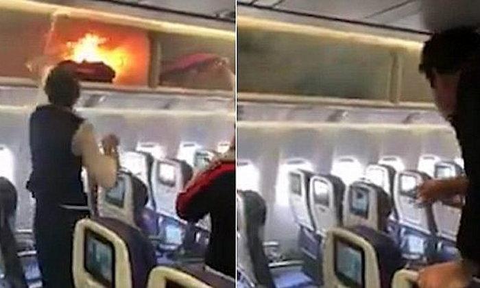 PowerBank ไฟลุกช่องเก็บของบนเครื่องบิน ทำเที่ยวบินดีเลย์ 3 ชม. เคราะห์ดีไร้บาดเจ็บ