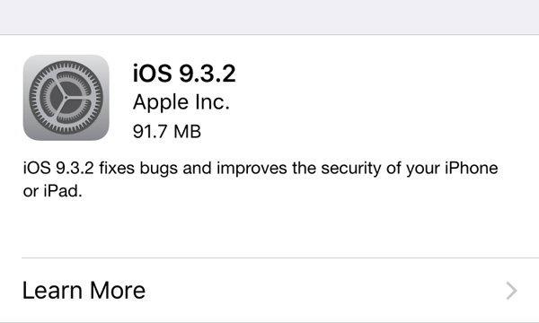 Apple ปล่อย iOS 9.3.2 แก้ปัญหาเรื่องความปลอดภัย และฟีเจอร์ รายละเอียดเพิ่มเติมกดที่นี่