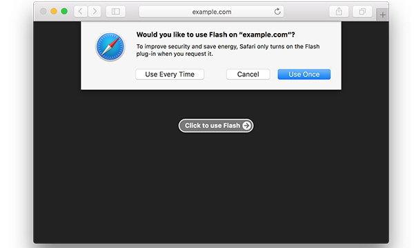 Safari 10 ใน MacOS Sierra จะปิดความสามารถของ Flash เป็นค่าเริ่มต้น