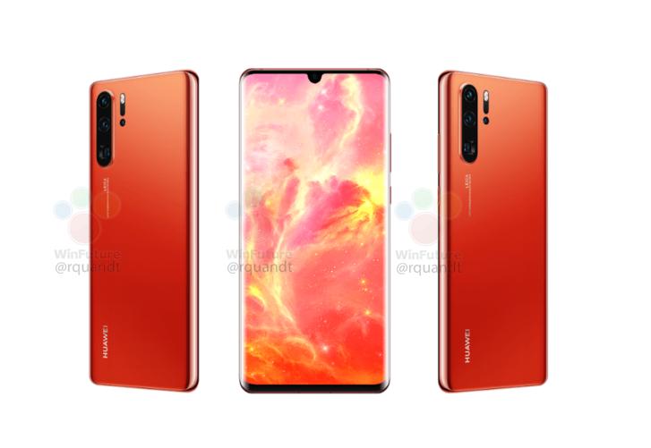 """หลุด Huawei P30 Pro สีแดง """"Sunrise Red"""" และ P30 จะมีช่องเสียบหูฟัง 3.5 มม. ด้วย"""