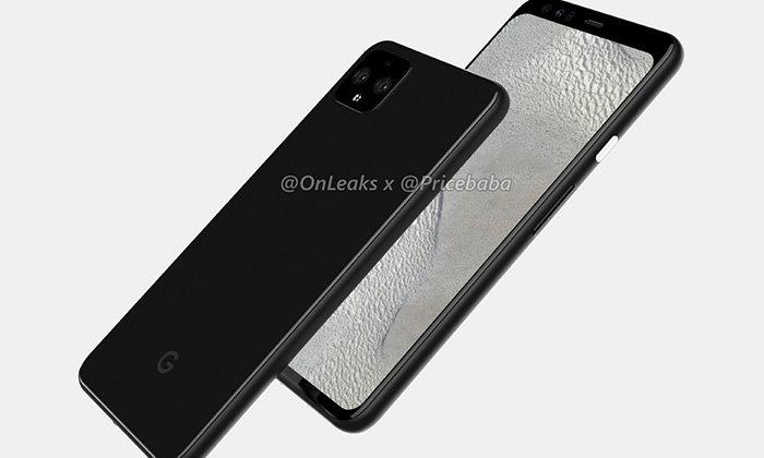 ชมภาพGoogle Pixel 4 XLรอบด้านและมีติ่งอยู่ด้านบนและกล้องหลังคู่
