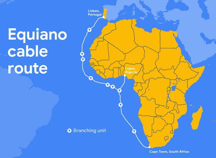 """Google เปิดตัวโครงการใหม่ """"Equiano"""" การเดินสายเคเบิลใต้น้ำเชื่อมยุโรปและแอฟริกาใต้"""
