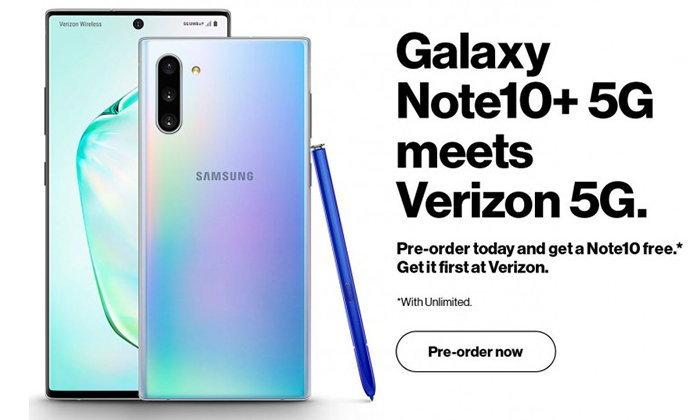 หลุดภาพSamsung Galaxy Note 10เวอร์ชั่น5GโดยVerizonก่อนเปิดตัว