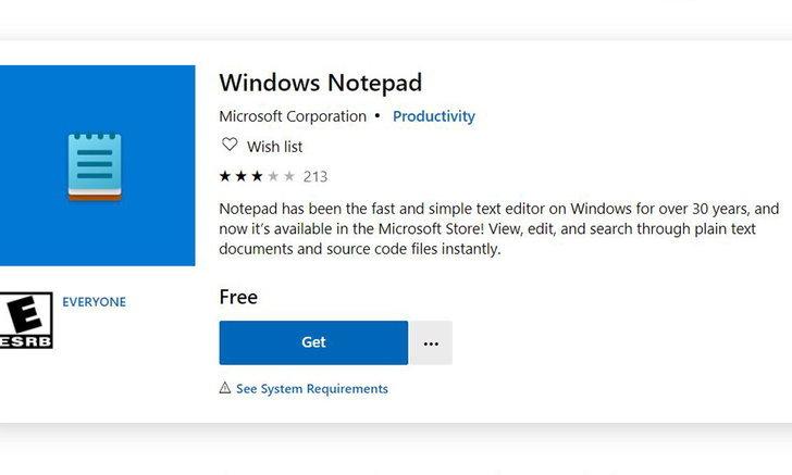 Windows Notepadถูกปล่อยให้DownloadบนMicrosoft Storeแล้วแต่ยังใช้ได้กับรุ่นทดลองเท่านั้น