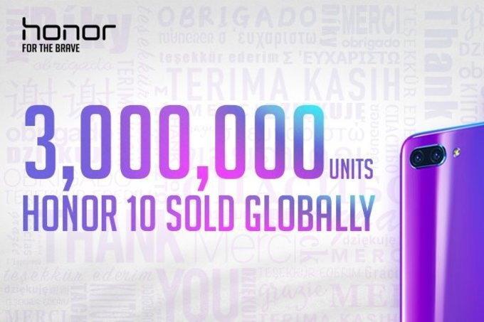 """""""Honor 10"""" ทำยอดขายทะลุ 3 ล้านเครื่องแล้ว แบรนด์เติบโตขึ้น 150% ในครึ่งแรกปี 2018"""