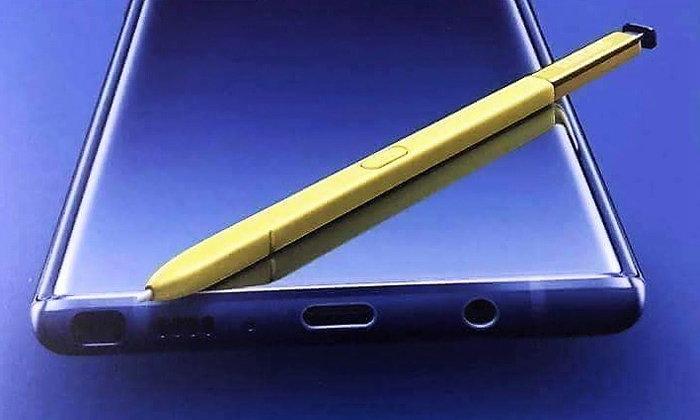 """หลุด! โปสเตอร์โปรโมต """"Samsung Galaxy Note 9""""  เผยตัวเครื่องสีน้ำเงิน S Pen สีเหลือง"""