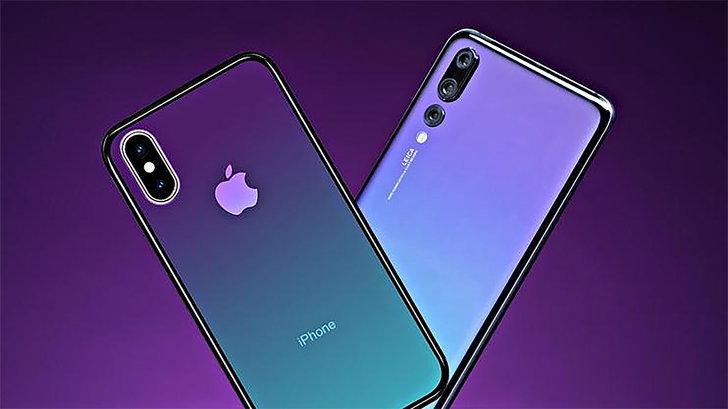 """สิทธิบัตรล่าสุดเผย : iPhone รุ่นต่อไปอาจ """"ไล่เฉดสีด้านหลัง"""" คล้ายกับ Huawei P20 Pro"""