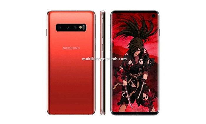 """ชมภาพ """"Samsung Galaxy S10"""" ที่มีสีน้ำเงิน และ แดงที่สวยสดงดงาม"""