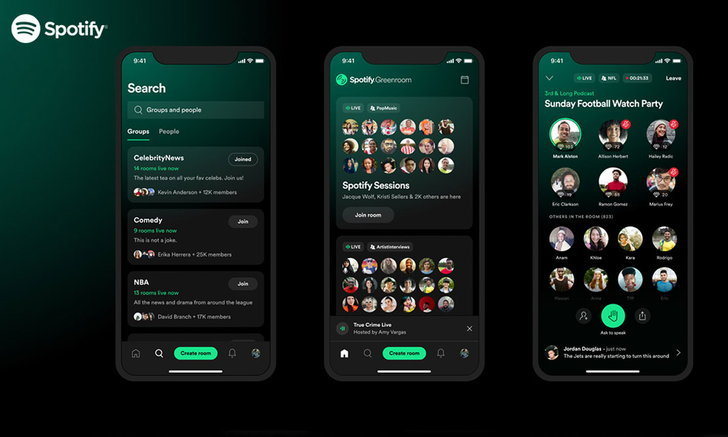Spotify เปิดตัว Greenroom ฟีเจอร์ห้องสนทนา ที่เหมือนกับ Clubhouse และ Twitter Spaces พร้อมให้บริการแ