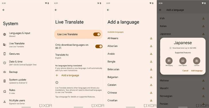 pixel-live-translate-settings