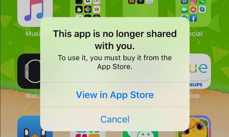 พบการแจ้งเตือนThis app is no longer shared with youขึ้นเองระหว่างการใช้AppsในiOS 13.5