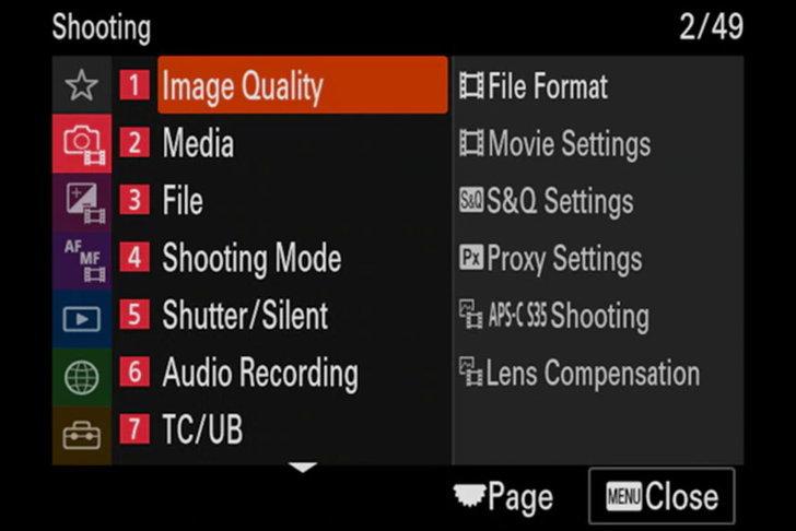 Sony A7sIII Menu