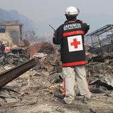 ทีมกาชาดญี่ปุ่นทีมแรกที่ลงไปในพื้นที่หลังแผ่นดินไหวและสึนามิ