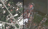 ภาพแผนที่ ก่อน-หลัง พายุไต้ฝุ่นไห่เยี่ยน ( Haiyan ) ถล่มฟิลิปปินส์
