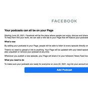 ครีเอเตอร์เตรียมตัว Facebook เตรียมเปิดแพลตฟอร์มสำหรับ Podcasts อาทิตย์หน้า