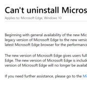 Microsoft Edge รุ่นใหม่ ถอนการติดตั้งไม่ได้แล้ว