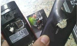 ปาฏิหาริย์มือถือช่วยชีวิต Nokia X2 สังเวยชีพกันกระสุนแทนเจ้าของ