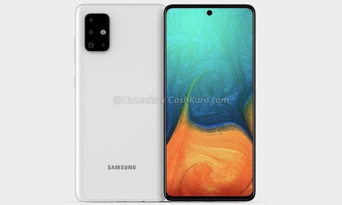 ชมภาพRenderของSamsung Galaxy A71รุ่นใหม่พร้อมกล้องหลังL Shapeและหน้าจอInfinity O Display