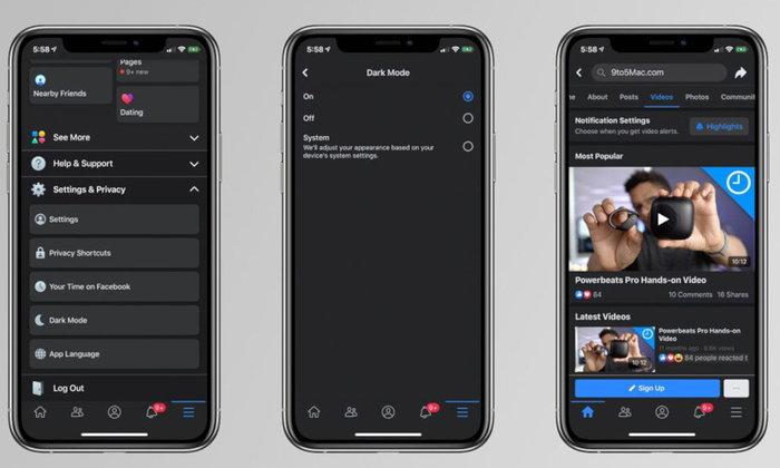 หลุดฟีเจอร์Dark ModeของFacebookในiOSก่อนเปิดตัวเร็วๆนี้