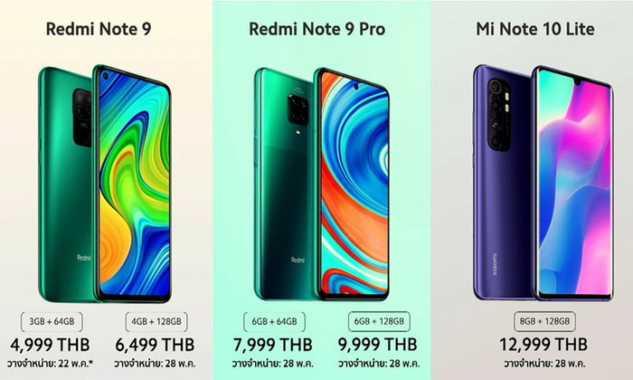 Xiaomi ประเทศไทยเปิดราคา 3 มือถือทั้ง Redmi Note 9, Redmi Note 9 Pro และ Mi 10 Lite