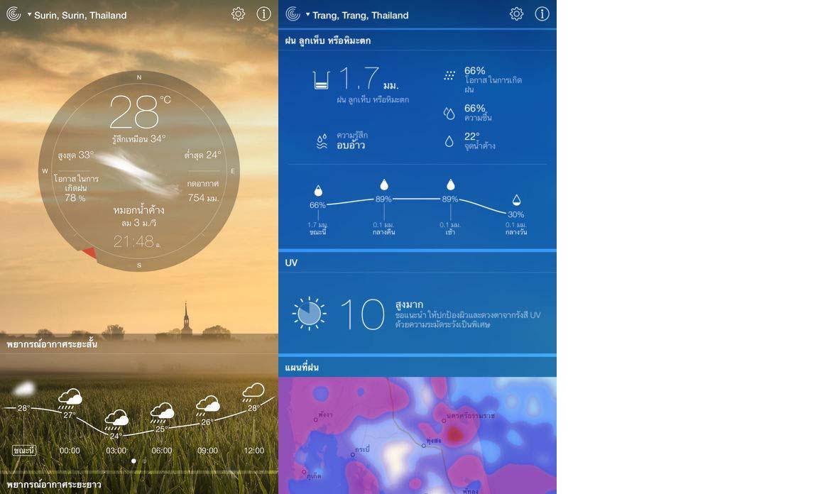 App รายงานอากาศสด Content2