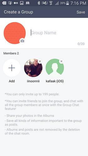 ตั้งชื่อกลุ่ม ใส่รูปประจำกลุ่ม แตะ + เพื่อเพิ่มสมาชิกในกลุ่มได้ แล้วแตะ Save