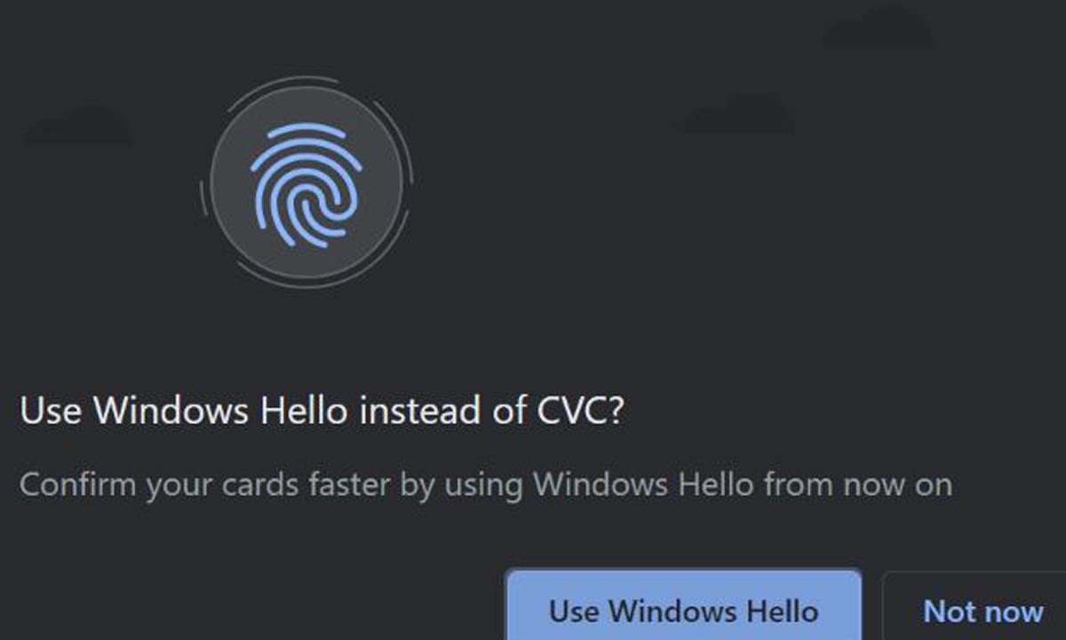 Googleรองรับให้Windows Helloใช้ยืนยันตัวตนในการชำระเงินผ่านบัตรเครดิตไม่ต้องใส่CVCของบัตร