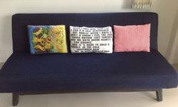 โซฟาเก่ามีค่าอย่าทิ้ง DIY ผ้าคลุมโซฟาเก่า ด้วยผ้ายีนส์เหมือนได้โซฟาใหม่เจ๋งๆ