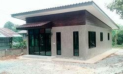 บ้านชั้นเดียวโมเดิร์นลอฟท์ผนังปูนเปลือยขัดมัน 400,000 บาท ราคาก่อสร้างละเอียดมาก