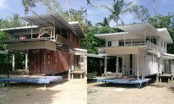 """ไอเดียสร้าง """"บ้านจากตู้คอนเทนเนอร์"""" เป็นบ้านพักตากอากาศสไตล์คลาสสิคสีขาว"""