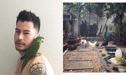"""ชีวิตรื่นรมย์ """"อ้น สราวุธ"""" เปิดบ้านเลี้ยงนก ไก่ สุนัข แมว ปลูกกล้วยไม้"""