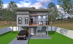 แบบบ้านสองชั้นโมเดิร์นลอฟท์ สวยดิบด้วยปูนเปลือย มีระเบียงและที่จอดรถราคา 8.5 แสนบาท