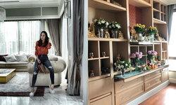 """บ้านสุดอลังการของ """"อั้ม พัชราภา"""" และห้องพระ กับการจัดดอกไม้บูชาแบบจัดเต็ม"""