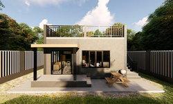 แบบบ้านสไตล์โมเดิร์นหลังเล็กราคาประหยัด 2 ห้องนอน 1 ห้องน้ำ พร้อมดาดฟ้าเปิดโล่ง