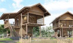 แบบบ้านทรงไทยเดิม โครงสร้างครึ่งไม้ครึ่งปูน 1 ห้องนอน 1 ห้องน้ำ พร้อมลานพักผ่อนชั้นล่าง