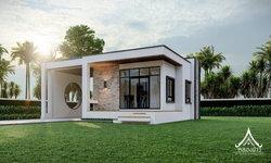แบบบ้านชั้นเดียวสไตล์โมเดิร์นมินิมอล หลังเล็กกะทัดรัด 60 ตร.ม. มีระเบียงหน้าบ้านรับธรรมชาติ และอากาศสดใส