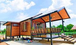 บ้านไม้สำเร็จรูปราคาประหยัด หลังเล็กกะทัดรัด กลิ่นอายบ้านไทยโบราณ พื้นที่ใช้สอย 35.2 ตร.ม.