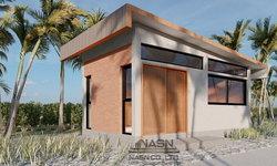 แบบบ้านสไตล์โมเดิร์นลอฟท์ขนาดเล็ก สวยเด่นด้วยผนังอิฐโชว์แนว 1 ห้องนอน 1 ห้องน้ำ พื้นที่ 27 ตร.ม.