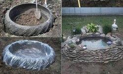 """DIY """"บ่อหินตกแต่งสวน"""" เปลี่ยนยางรถเก่าๆ ให้กลายเป็นบ่อน้ำแสนสวยประดับสวน"""