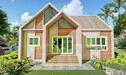 แบบบ้านชั้นเดียวสไตล์นอร์ดิก ดีไซน์หลังคาทรงแหลมมีเอกลักษณ์ 2 ห้องนอน 2 ห้องน้ำ พื้นที่ 74 ตร.ม.