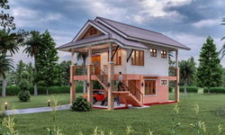 แบบบ้านเกษตรคอหงส์ ดีไซน์หลังคาทรงมะนิคาเล่นระดับ 2 ห้องนอน 2 ห้องน้ำ